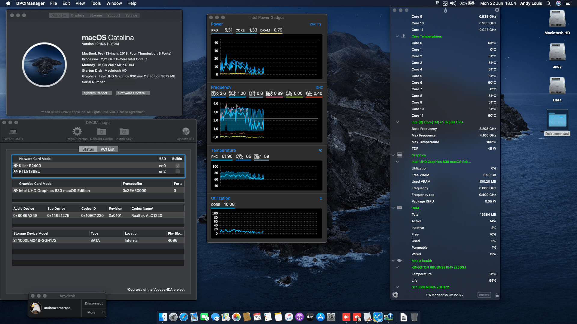 Success Hackintosh macOS Catalina 10.15.5 Build 19F96 at MSI GL63 8SE-087ID